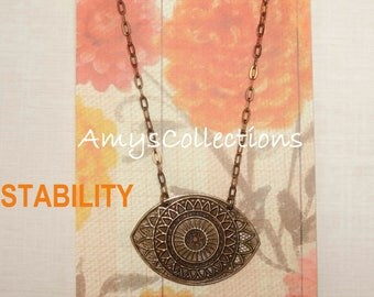 MANDALA (STABILITY) EYE, Hand-painted, Delicate Solid Brass Chain Necklace (Brown)