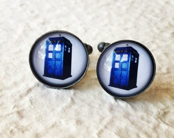 Doctor Who Tardis Cufflinks - Cufflink Set Great for Dr Who Themed Wedding