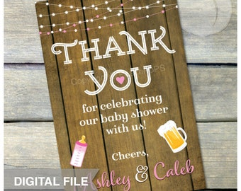 "A Baby is Brewing Baby Shower - Pink - Thank You - 4"" x 6"" - DIGITAL Printable"