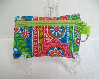 Quilted Coin Purse - Floral Change Purse - Small Zippered Pouch - Coin Purse Key Chain - Ear Bud Case - Turquoise Pink Lime