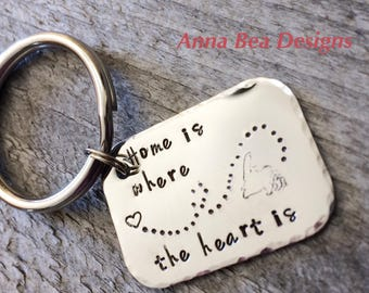 Newfoundland Map Home is where the heart is Custom Hand stamped keychain newfoundlanders newfie
