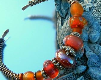 Rich Orange Hot Pink Lampwork Sterling Cuff Bracelet Handmade Gypsy Boho Hippie  SRA Artisan jewelry