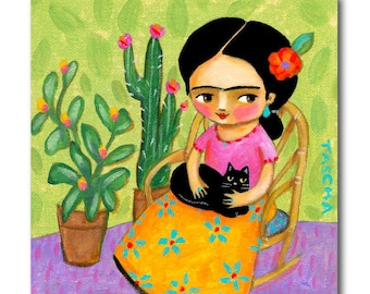 Frida Kahlo painting FRIDA with Black Cat and cactus plants cute nursery wall art ORIGINAL painting by artist Tascha