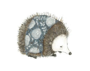 Blue Hedgie 8 x 10 art print hedgehog farmhouse decor woodland animal