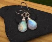 Large Rainbow Moonstone Earrings, Sterling Silver Dangle Earrings, Natural Gem Stone, Big Smooth Teardrop, Real Genuine Gemstone, Blue Fire
