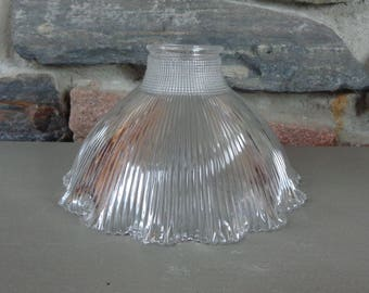Vintage Holophane Ribbed Ruffled Clear Glass Shade Chandelier Lamp Light  Fixture