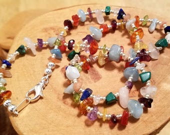 Melange multicolor gemstone chip choker necklace available in two different sizes