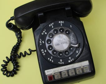 VINTAGE black rotary phone with MULTIPLE LINES