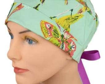 Surgical Caps - Womens - Small - Mini - Ribbon - Butterfly Garden