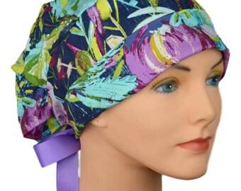Scrub Hats // Scrub Caps // Scrub Hats for Women // The Hat Cottage // Small // Ribbon Ties // Midnight Garden