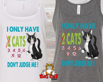 CAT TANK TOP - Cat lady Don't Judge Me- Cat Lover Shirt. Cat Lady Tee, Cat Lover Gift, Rescue Cat Shirt