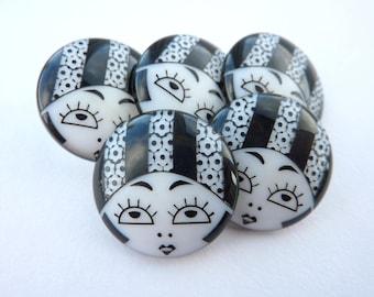 5 x 23mm Black & White Flapper Girl Buttons