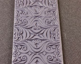 MAGIC MIRROR Embossed Rubber Texture Tile Mat Stamp for Clay inks  Paint Soap   TTL244