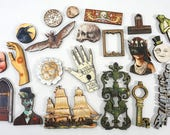 Laser Cut Wood Craft Pieces - Collection of 20 Odd and Mysterious Parts for Devious Art