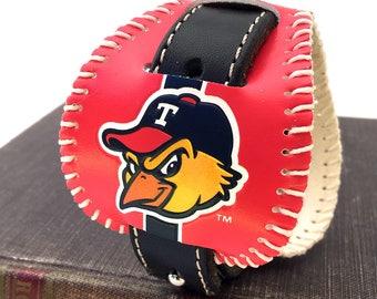 Toledo Mud Hens Baseball Leather Cuff Bracelet Wristband Reclaimed Leather Unisex Sports Fan Adjustable Eco-friendly Leather Handmade OOAK