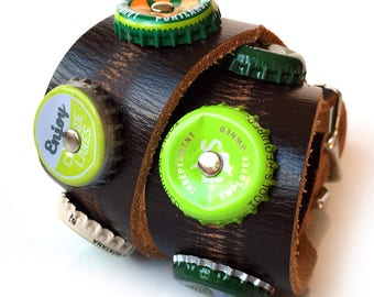 Chocolate Mint Leather Dog Collar, Green Beer Bottle Caps on Brown Leather, Size M, to fit a 15-18in Neck, Medium Dog, EcoFriendly, OOAK