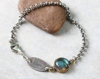 HOPE,round cabochon labradorite bracelet in brass bezel setting and sterling silver oxidized rolo chain