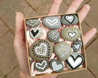 One Dozen Hand Painted Heart Rocks -- bulk priced at 25% off