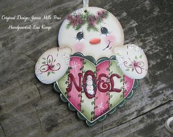 Adorable Noel Heart Snowman Ornament