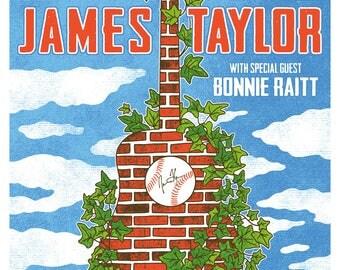 James Taylor Bonnie Raitt 2017 Wrigley Field Chicago Stadium Tour Gigposter Poster by GIGART