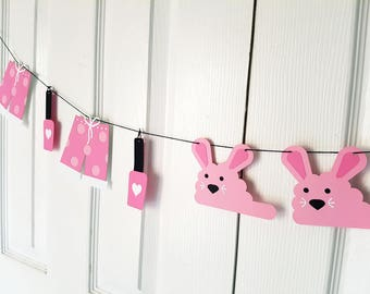 Sleepover Party Garland, Slumber Party Banner, Bunting, Slumber Party Decor, Sleepover Party, Girls Birthday Party, Room Decor READY TO SHIP
