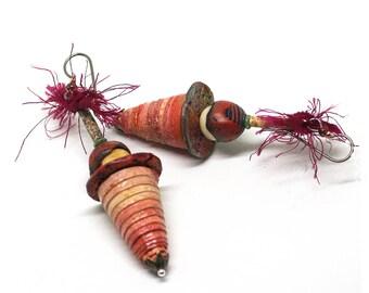Funky assemblage earrings, Mixed media cone earrings, Long statement earrings, Festival earrings, Gypsy earrings, Tribal earrings,