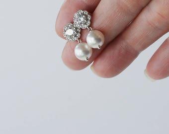 Bridal Earrings Wedding Earrings Pearl Earrings Vintage Inspired Pearl Drop Earrings Cocktail Earrings