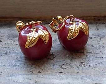 FREE SHIPPING Vintage Red Apple Clip Earrings