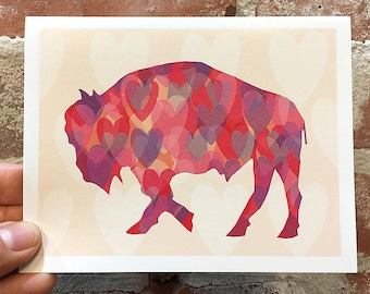 Buffalo Valentine's Day Card - Buffalo Card - Heart Buffalo - Blank Inside - Buffalo Art - Buffalo NY - Buffalove