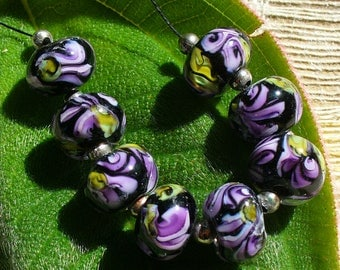 Lampwork Beads Handmade by Catalinaglass SRA Pink and Purple Sweet Peas