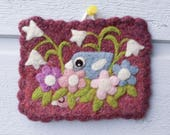 Wall hanging felted violet wool fiber art hand knit with needle felted birdie birds flowers