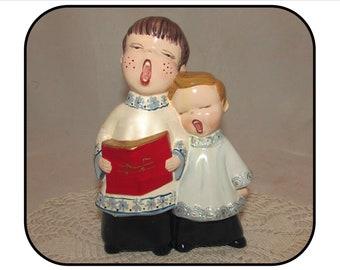 Vintage Duo or Pair of Singing Choir Boys Figurine, Ceramic, Christmas, holiday decoration