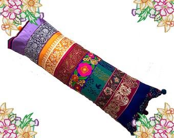 Bohemian Bolster Cushion / Pillow Cover - Vibrant Jewel Tones