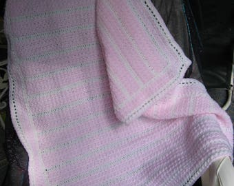 SPECIAL ORDER for LAURA  Pink and White Crib Blanket