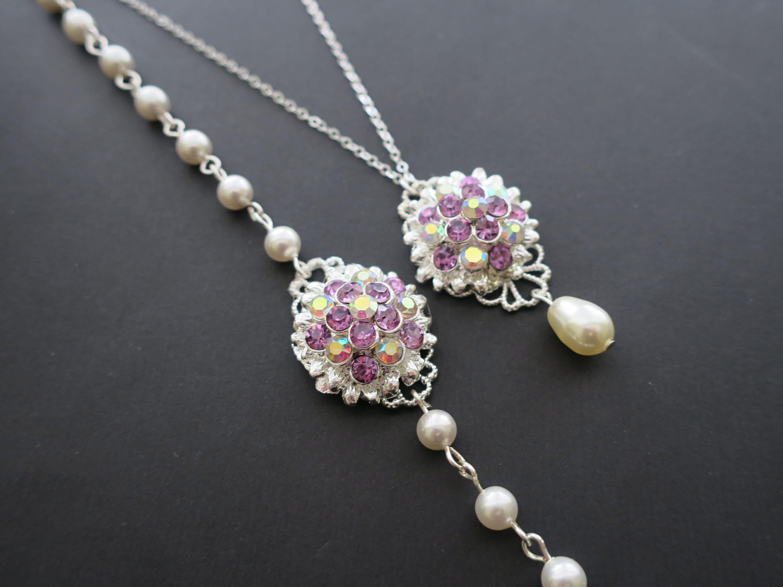 Amethyst flower Swarovski pearl vintage wedding bracelet and necklace jewelry set