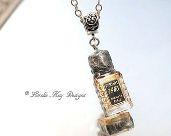 Tiny Paris Perfume Bottle Necklace Soldered Bottle Jewelry Mixed Media One-of-a-Kind Assemblage Pendant