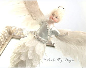 Winter Angel Ornament Hanging Assemblage Art Doll Decoration Winter White Pinecone Feather Wings Angel Lorelie Kay Original