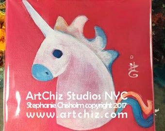 Pink Unicorn Original Painting - Original 8 by 8 Inch on Canvas -  Strawberry Rainbow Baby - Pink Unicorn  - Unicorn Painting