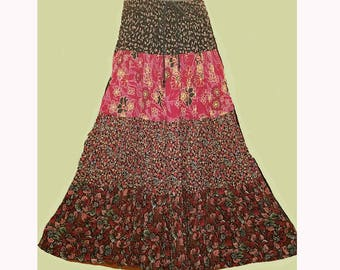 Vintage Red Black Floral Broom Skirt Flowy, Size Large, Witchy BOHO Bohemian