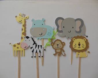 Zoo or Safari Animal Cupcake Toppers - Noah's Ark Theme - Gender Neutral Baby Shower Decorations - Birthday Party Decorations - Set of 6