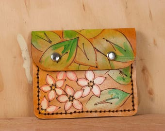 Minimalist Wallet - Leather Women's or Men's Credit Card Wallet in the Persisted pattern with Mayflowers - Pink, Green, Antique Tan
