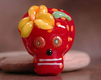 Glass Sugar Skull Day of the Dead Lampwork Focal Bead Divine Spark Designs SRA