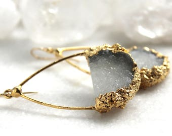 druzy earrings, druzy hoop earrings, druzy hoops, druzy jewelry, gifts for her, druzy agate