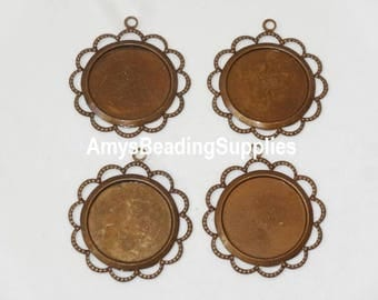 SALE: 4 Beaded Lace Edge Round 18mm Settings by Trinity Vintage Brass