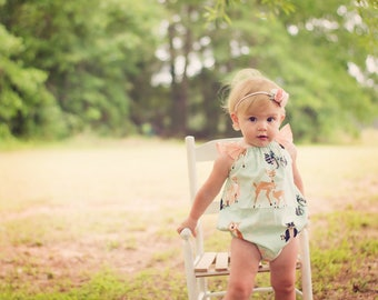 Baby Animal Romper -  Baby Romper - Toddler Romper - Toddler Animal Romper -  Baby Animal Outfit - Toddler Animal Outfit - Baby Woodland