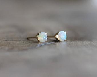 Opal stud earrings - Welo opal post earrings - gemstone earrings - gold stud earrings - October birthstone - 14k gold filled opal jewelry