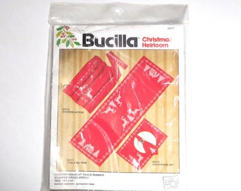 Vintage Bucilla Christmas Heirloom Country Holiday Table Runner Kit 82411 Sealed Reindeer Cross Stitch