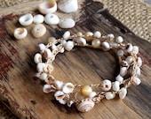 Allergy Safe no Metal Puka Shell Crocheted Beach Bracelet Wrap, Hawaiian Jewelry, Mermaid Bracelet, Graduation Gift for Her, Summer Jewelry