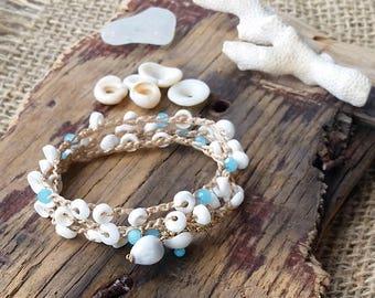 Summer Bracelet, Puka Shell Bracelet, Crocheted Wrap Bracelet, Stacking Bracelet, Multi Strand Bracelet, Bracelet Wrap, Anklet, Beach Style