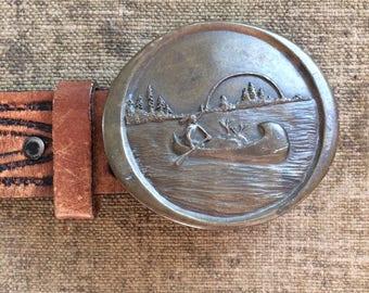 Reserved - Indian Brass Belt Buckle - Indiana Metal Craft 1976